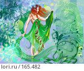 Девушка на цветочном фоне. Стоковая иллюстрация, иллюстратор Цепков Андрей / Фотобанк Лори