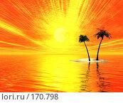 Купить «Необитаемый остров, закат», иллюстрация № 170798 (c) ElenArt / Фотобанк Лори