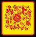 """Узор под названием """"Кудрина"""" в стиле традиционного народного промысла Хохлома на красном фоне, иллюстрация № 174894 (c) Олеся Сарычева / Фотобанк Лори"""