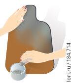 Купить «Пошаговой урок росписи доски в стиле традиционного промысла Хохлома: этап 6, лужение - покрытие алюминиевым порошком тампоном, который называется кукла», иллюстрация № 184714 (c) Олеся Сарычева / Фотобанк Лори