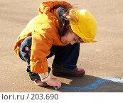 Купить «Девочка рисует», фото № 203690, снято 10 мая 2005 г. (c) Бабенко Денис Юрьевич / Фотобанк Лори