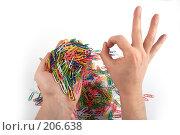 Купить «Руки держат скрепки и демонстрируют жест», фото № 206638, снято 17 февраля 2008 г. (c) Corwin / Фотобанк Лори