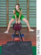 Купить «Школьница учится прыгать через козла», фото № 206766, снято 10 февраля 2008 г. (c) Федор Королевский / Фотобанк Лори