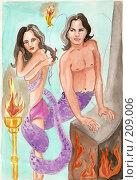 Купить «Змееловка», иллюстрация № 209006 (c) Cавельева Елена / Фотобанк Лори