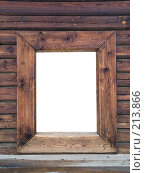 Купить «Деревянная рамка на стене. изолировано», фото № 213866, снято 24 февраля 2008 г. (c) Liseykina / Фотобанк Лори