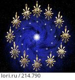 Купить «Двенадцать золотых знаков зодиака», иллюстрация № 214790 (c) ElenArt / Фотобанк Лори