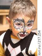 Купить «Мальчик с аквагримом тигра на лице», фото № 217254, снято 1 января 2008 г. (c) hunta / Фотобанк Лори