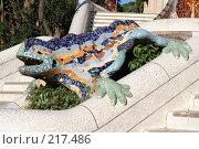 Купить «Ящерица-дракон в парке Гуэль работы Гауди, один из символов Барселоны», фото № 217486, снято 20 сентября 2005 г. (c) Солодовникова Елена / Фотобанк Лори