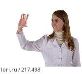 Купить «Химик с пробиркой в руках», фото № 217498, снято 1 марта 2008 г. (c) Татьяна Белова / Фотобанк Лори