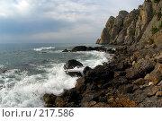 Купить «Морской прибой у скал горы Караул-Оба (Крым)», фото № 217586, снято 20 сентября 2006 г. (c) Олег Титов / Фотобанк Лори