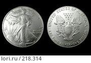 Купить «Американский серебряный доллар 1990 года», фото № 218314, снято 17 августа 2018 г. (c) ElenArt / Фотобанк Лори