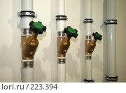 Балансировочные вентили на трубопроводе, фото № 223394, снято 12 марта 2008 г. (c) Марюнин Юрий / Фотобанк Лори
