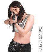 Купить «Вооруженная девушка», фото № 224102, снято 25 февраля 2008 г. (c) hunta / Фотобанк Лори