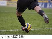 Купить «Футбольный вратарь вводит мяч в игру ударом от ворот», фото № 227838, снято 10 сентября 2005 г. (c) Виктор Филиппович Погонцев / Фотобанк Лори
