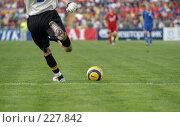 Купить «Футбольный вратарь вводит мяч в игру ударом от ворот», фото № 227842, снято 18 сентября 2005 г. (c) Виктор Филиппович Погонцев / Фотобанк Лори
