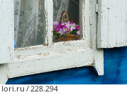 Фрагмент окна в старом деревянном доме с искусственными цветами за стеклом. Стоковое фото, фотограф Борис Панасюк / Фотобанк Лори