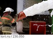 Купить «Пожарный льет пену из пожарного шланга», фото № 230050, снято 20 марта 2008 г. (c) Евгений Батраков / Фотобанк Лори