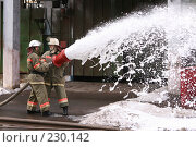 Купить «Пожарные льют пену из пожарного шланга», фото № 230142, снято 20 марта 2008 г. (c) Евгений Батраков / Фотобанк Лори