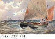 Купить «Старая открытка. Рыбацкая лодка.», фото № 234234, снято 26 мая 2019 г. (c) Булатенкова Нина / Фотобанк Лори
