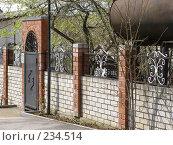 Купить «Забор из белого и красного кирпичей с металлическими вставками», фото № 234514, снято 15 марта 2005 г. (c) Юлия Ухина / Фотобанк Лори