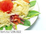 Купить «Макароны с сыром, салями, помидорами и травами на тарелке», фото № 236022, снято 20 мая 2019 г. (c) Павел Савин / Фотобанк Лори