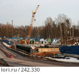 Строительство нового моста через Черную речку. Стоковое фото, фотограф Сергей Халадад / Фотобанк Лори