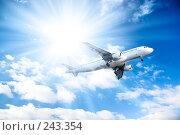 Купить «Самолет на фоне голубого неба», фото № 243354, снято 26 февраля 2008 г. (c) chaoss / Фотобанк Лори