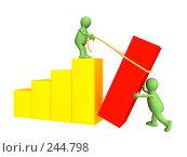 Купить «Стилизованные человечки-партнеры, устанавливающие столбик диаграммы», иллюстрация № 244798 (c) Лукиянова Наталья / Фотобанк Лори