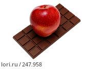Купить «Красное яблоко на плитке шоколада», фото № 247958, снято 8 марта 2008 г. (c) BestPhotoStudio / Фотобанк Лори