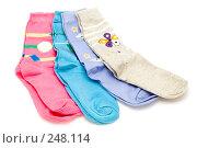Купить «Разноцветные носки», фото № 248114, снято 20 сентября 2018 г. (c) Угоренков Александр / Фотобанк Лори