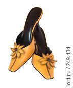 Купить «Желтые женские туфли, изолировано на белом фоне», фото № 249434, снято 21 мая 2018 г. (c) yelena demyanyuk / Фотобанк Лори