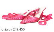 Купить «Женские розовые туфли, изолировано на белом фоне», фото № 249450, снято 21 мая 2018 г. (c) yelena demyanyuk / Фотобанк Лори