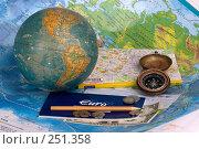 Купить «Подготовка к путешествию. Карты, глобус, компас и чековая книжка в евро», фото № 251358, снято 22 сентября 2018 г. (c) Harry / Фотобанк Лори