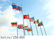 Российский флаг, развевающийся выше других. Стоковое фото, фотограф Дмитрий Яковлев / Фотобанк Лори