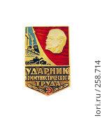 Купить «Значок ударник коммунистического труда», фото № 258714, снято 15 апреля 2008 г. (c) Fro / Фотобанк Лори