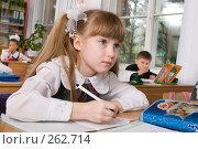 Купить «Первоклассница на фоне класса», фото № 262714, снято 25 апреля 2008 г. (c) Федор Королевский / Фотобанк Лори