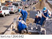 Купить «Благоустройство. Рабочие укладывают тротуарные камни на набережной реки», эксклюзивное фото № 264642, снято 28 апреля 2008 г. (c) Александр Алексеев / Фотобанк Лори