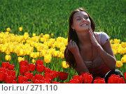 Купить «Девушка на фоне красных и желтых тюльпанов», фото № 271110, снято 23 апреля 2008 г. (c) Андрей Аркуша / Фотобанк Лори