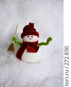 Купить «Снеговик на снегу», фото № 272830, снято 22 сентября 2018 г. (c) Морозова Татьяна / Фотобанк Лори