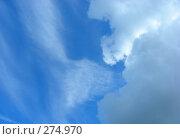 Купить «Белые воздушные облака на фоне голубого неба», эксклюзивное фото № 274970, снято 6 мая 2008 г. (c) lana1501 / Фотобанк Лори