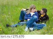 Купить «Девушка и парень лежат на траве и смотрят друг на друга», фото № 275670, снято 20 апреля 2008 г. (c) Арестов Андрей Павлович / Фотобанк Лори