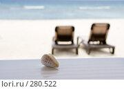 Купить «Ракушка и шезлонги на океанском берегу на заднем плане», фото № 280522, снято 19 сентября 2018 г. (c) SummeRain / Фотобанк Лори