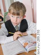 Купить «Первоклассник на уроке», фото № 289310, снято 25 апреля 2008 г. (c) Федор Королевский / Фотобанк Лори