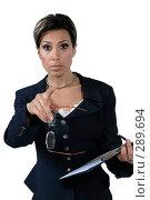 Купить «Деловая женщина с папкой обращается к впереди стоящему», фото № 289694, снято 4 мая 2007 г. (c) Марианна Меликсетян / Фотобанк Лори