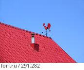 """Купить «Флюгер """"красный петух"""" на красной черепичной крыше на фоне голубого неба», эксклюзивное фото № 291282, снято 9 мая 2008 г. (c) Тамара Заводскова / Фотобанк Лори"""
