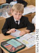 Купить «Первоклассник на уроке», фото № 294102, снято 14 мая 2008 г. (c) Федор Королевский / Фотобанк Лори