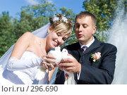 Купить «Молодожены держат белых голубей», фото № 296690, снято 15 июля 2007 г. (c) Владимир Сурков / Фотобанк Лори