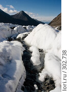 Ручьи на леднике. Стоковое фото, фотограф Андрей Пашкевич / Фотобанк Лори