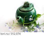 Купить «Маленький зеленый чайник с незабудками», фото № 312074, снято 5 июня 2008 г. (c) Даша Богословская / Фотобанк Лори