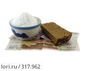 Купить «Ломтик ржаного хлеба, соль и деньги», фото № 317962, снято 10 июня 2008 г. (c) Ivan Markeev / Фотобанк Лори